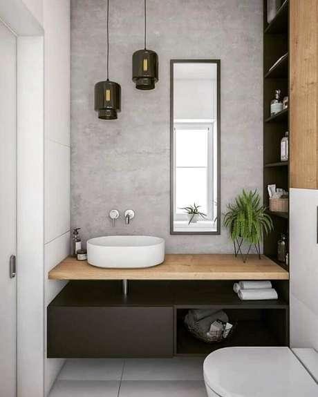 13. Decoração de banheiro pequeno com luminária moderna de vidro – Foto Pinterest