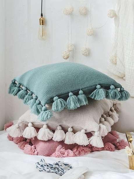 27. Tecido para almofada azul rosa e bege – Foto Shein