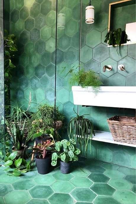 35. Revestimento hexagonal verde – Foto Anna Hayman Designs