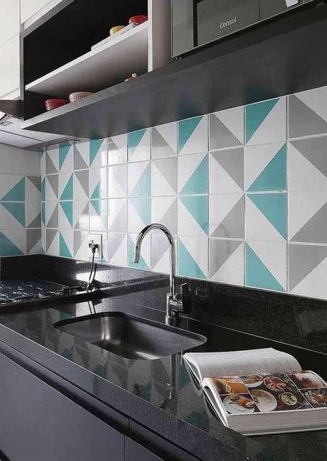 42. Revestimento verde água para cozinha moderna – Foto Decor Facil