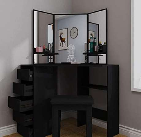 8. Penteadeira preta pequena de canto otimiza espaço no dormitório. Fonte: Pinterest