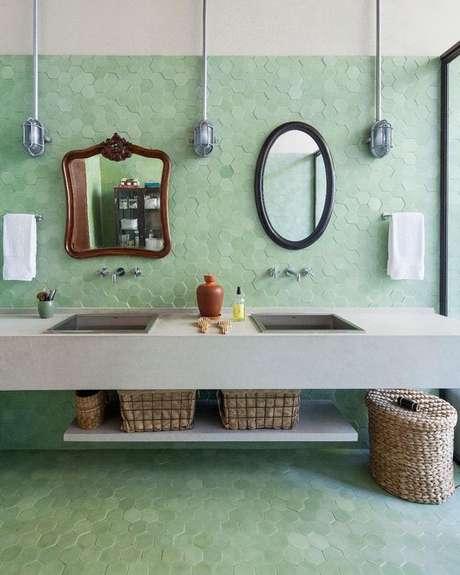 49. Revestimento verde hexagonal – Foto Pinterest
