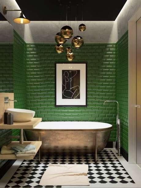 46. Revestimento verde de tijolinho para banheiro moderno – Foto Homify
