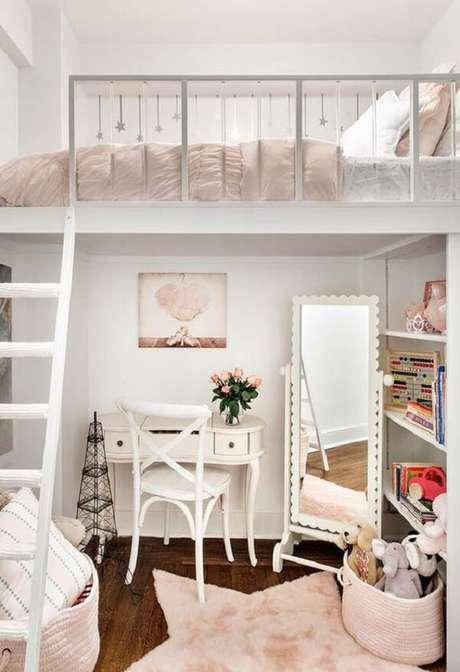 6. Projeto de cama solteiro mezanino para quarto feminino. Fonte: Pinterest