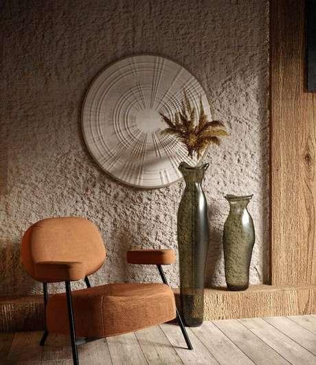 6. A poltrona decorativa marrom é aquela com design que se destaca na decoração – Foto: Behance
