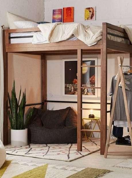 48. A parte abaixo da cama mezanino pode ser usada como um espaço para relaxamento e descanso. Fonte: Pinterest