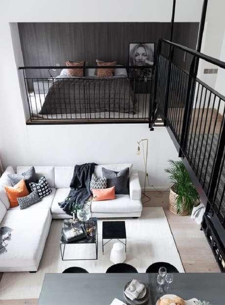 19. A cama mezanino foi criado com tons mais escuros que imprimem sofisticação. Fonte: Pinterest