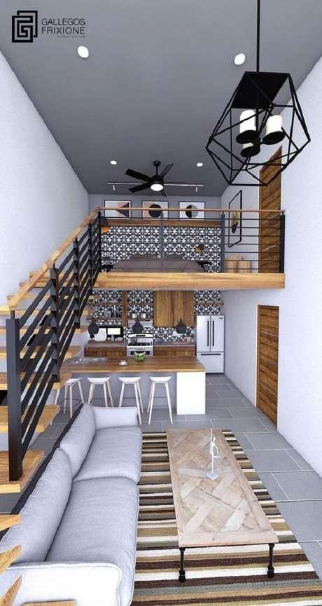 16. Projeto de casa pequena com mezanino com cama de casal. Fonte: Gallegos Frixione