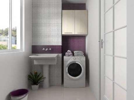 16. Decoração com pastilhas brancas e roxas para lavanderia simples e simples – Foto-Pinterest