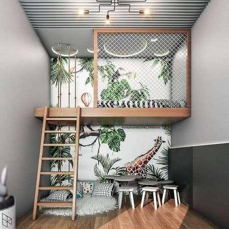 8. A rede protetora traz charme para a cama mezanino. Fonte: @decorbabyandkids