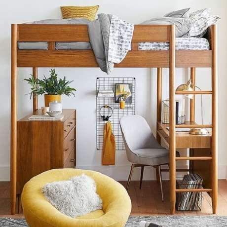 12. Uma das grandes vantagens da cama mezanino é o aproveitamento do espaço. Fonte: Pinterest