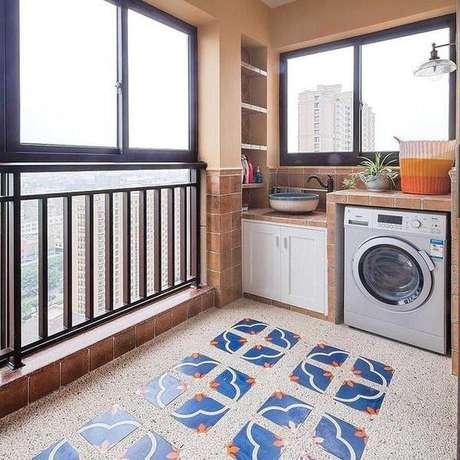 5. Área gourmet pequena com lavanderia – Foto Pinterest