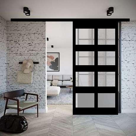 62. Porta de correr para sala pequena e moderna – Foto Armazem Industrial