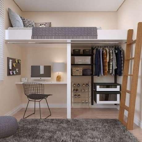 7. Mesa de estudos, closet e cama mezanino solteiro. Fonte: Wattpad
