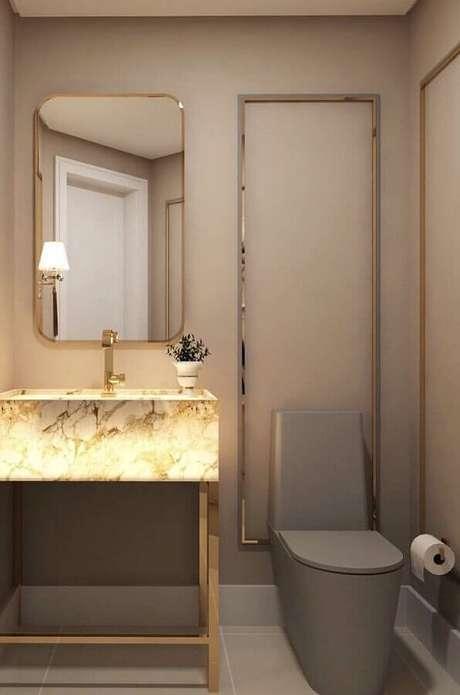 22. Cuba de mármore para decoração de banheiro social moderno – Foto: Behance
