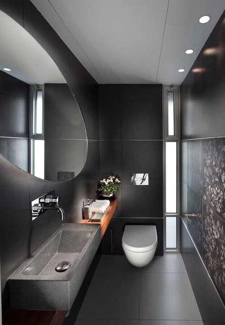37. Decoração de banheiro social moderno preto – Foto Architecture Art Designs