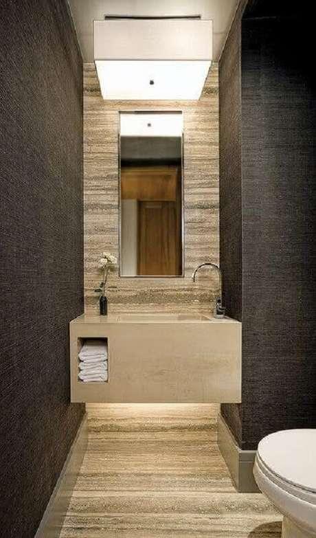 45. Papel de parede cinza para decoração de banheiro social – Foto: The Architects Diary