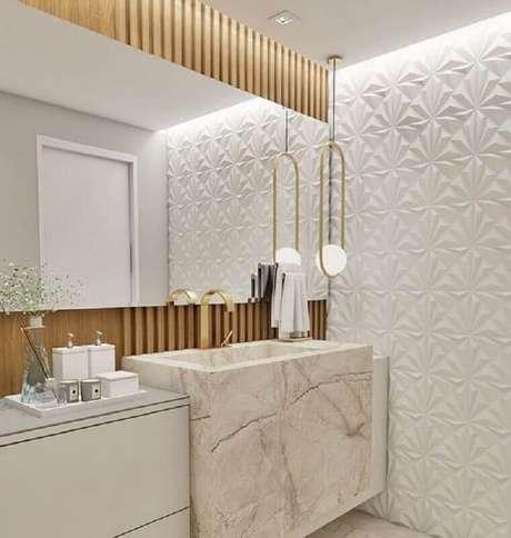 53. Decoração clean com revestimento 3D para banheiro social – Foto: Pinterest