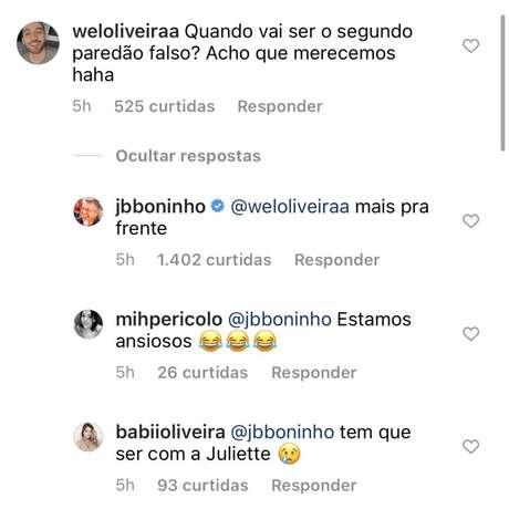 No perfil do Instagram,Boninho faz mistério em relação a segundo paredão falso ao responder internautas