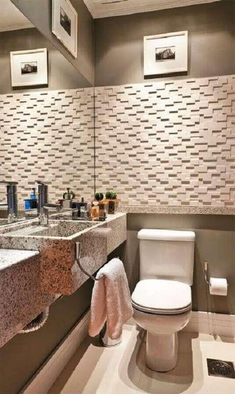 17. Revestimento 3D para banheiro social decorado com bancada de mármore – Foto: Home Fashion Trend