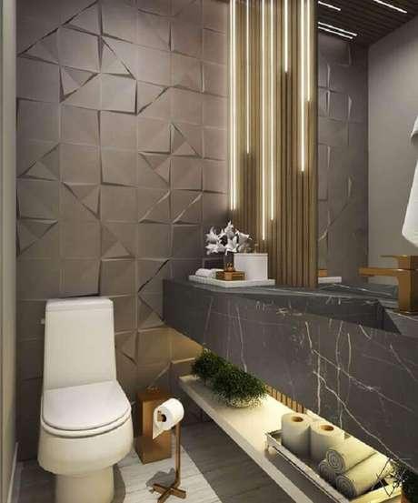 52. Banheiro social moderno cinza decorado com revestimento 3D – Foto: Archtrends