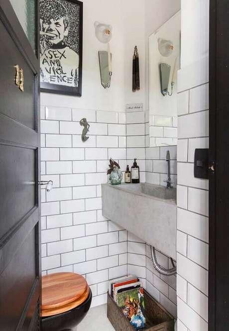 38. Decoração para banheiro social simples e pequeno – Foto: Home Fashion Trend