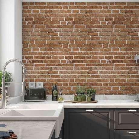 39. Papel de parede rustico para cozinha – Foto De Facile