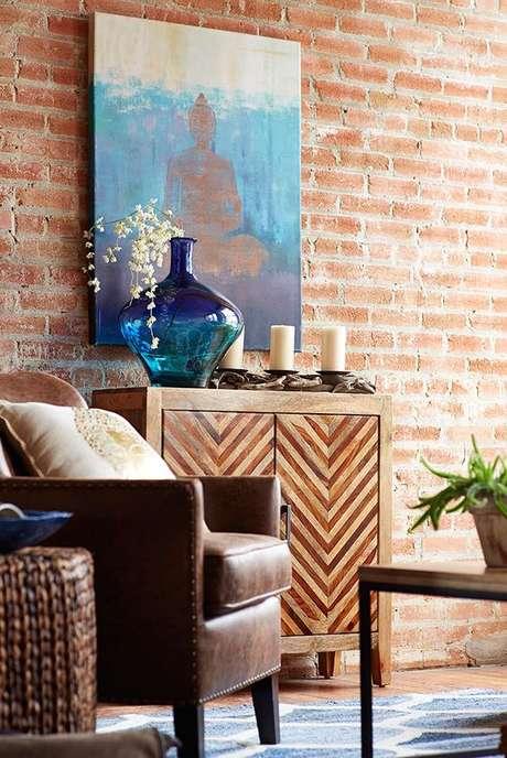 35. Papel de parede rustico para sala de estar – Foto Pier