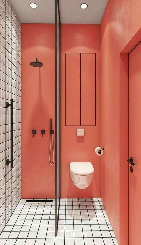 16. Banheiro moderno na cor coral Foto Casa Vogue
