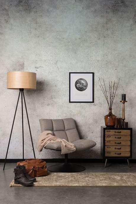 51. Papel de parede rustico de concreto para sala de estar – Foto Dutch Bone