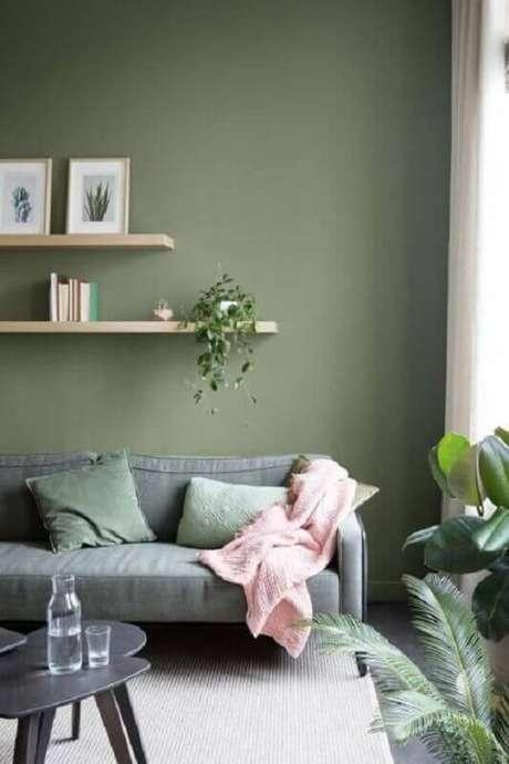 60. Tinta verde oliva para sala de estar decorada com sofá cinza – Foto: Archilovers