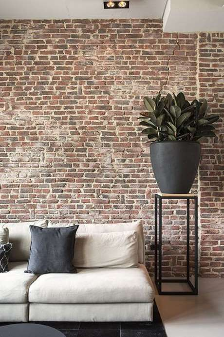 41. Papel de parede rustico para sala de estar – Foto Estofos