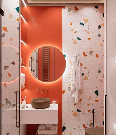 12. Banheiro cor coral com granilite – Foto Pinteret