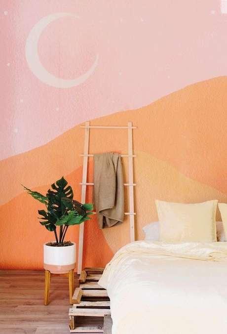 50. Quarto rosa e cor coral na parede moderna – Foto Anewall
