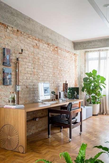 11. Escritório com papel de parede rustico Foto Home Adore