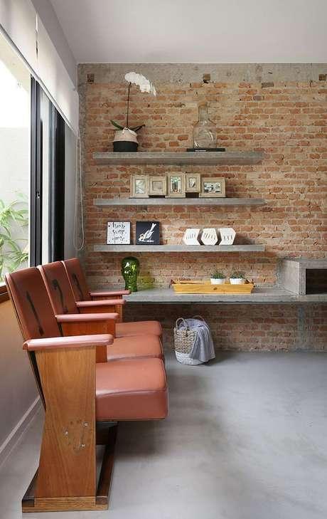 36. Papel de parede rustico para sala de estar industrial – Foto Casa De Valentin