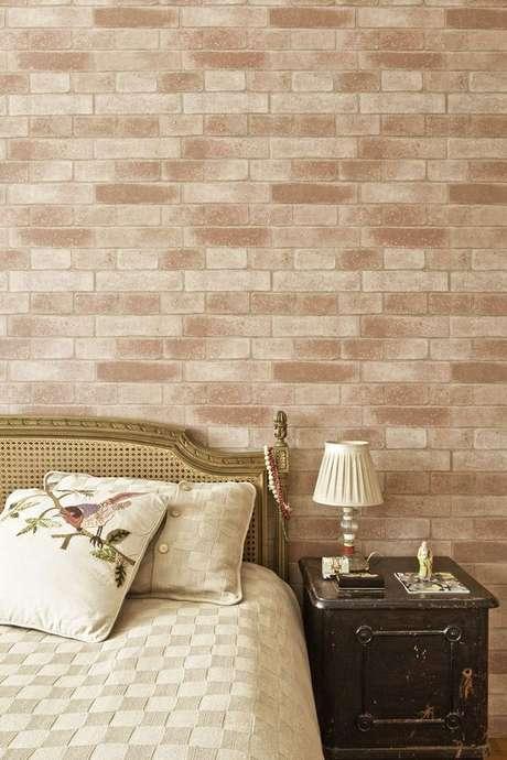 29. Quarto com papel de parede rustico de tijolinho – Foto Cicabraga Papel de Parede