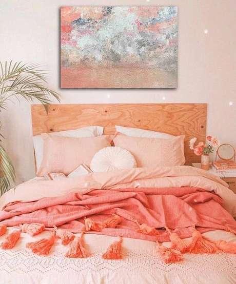 26. Decoração cor coral para quarto – Foto Pinterest