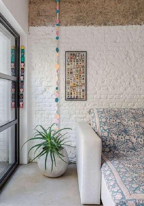 52. Papel de parede de tijolinho branco rustico – Foto Revista VD
