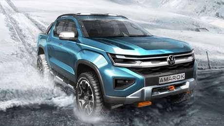 Nova Volkswagen Amarok terá design de linhas retas inspirado nos SUVs da marca.
