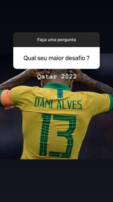 Dani Alves fala sobre desejo de jogar a Copa de 2022 (Foto: Reprodução/Instagram)