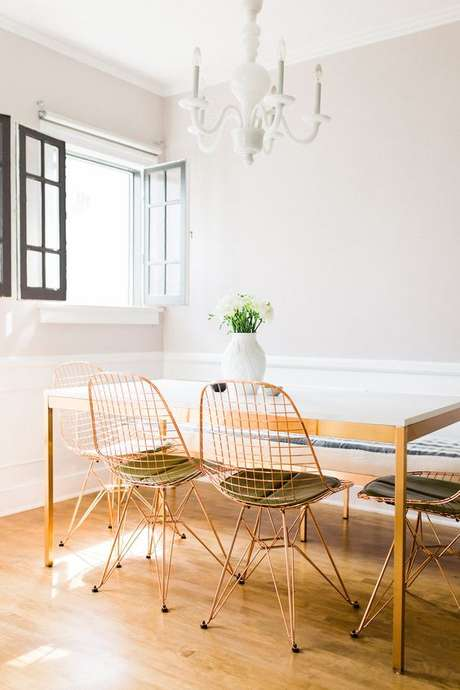 22. Cadeira de ferro rose para mesa de jantar moderna – Foto Pinterests