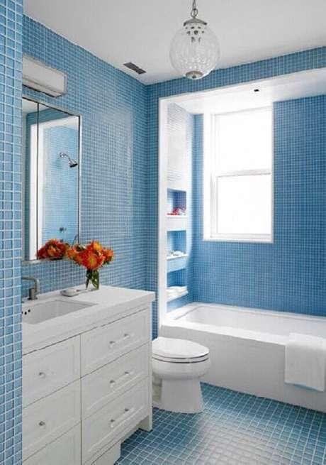2. Saiba como escolher a melhor tonalidade de azul para o seu banheiro decorado – Foto: Pinterest