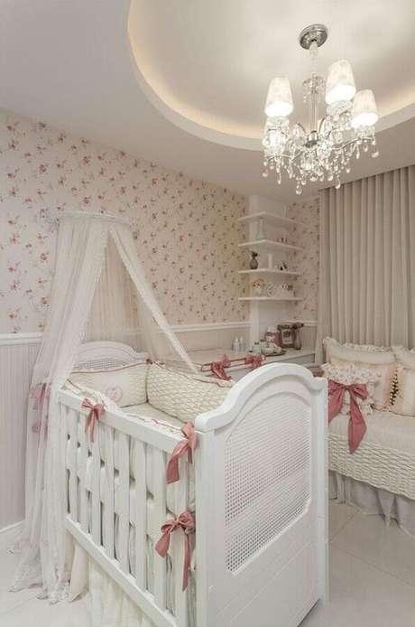 28. Lustre infantil provençal para quarto de bebe chique cor de rosa – Foto Pinterest