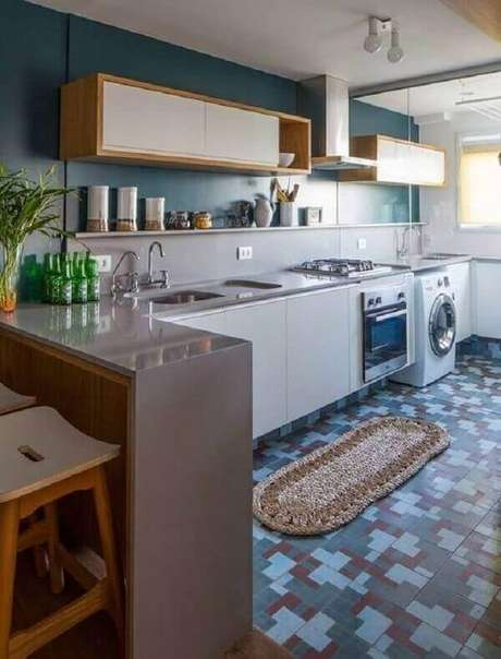 45. Armário aéreo porta basculante para cozinha e lavanderia. Fonte: Pinterest