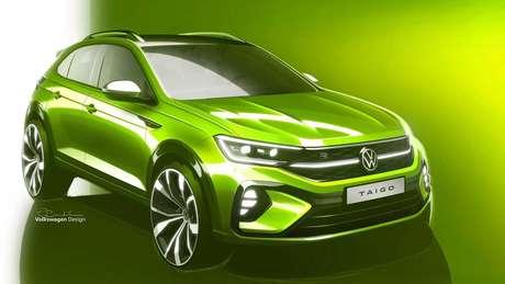 Volkswagen Taigo traz para-choque com design exclusivo e barra de LED que liga os faróis à grade dianteira.