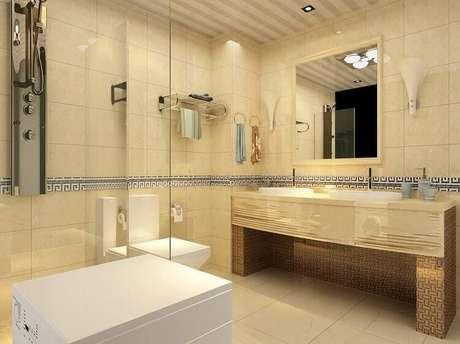 15. O piso cerâmico filetado remete ao mármore e deixa o banheiro mais requintado.