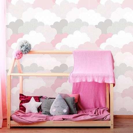 4. Papel de parede rosa de nuvem – Foto Inove Papeis de Parede