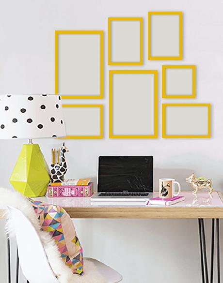 23. Escritório com moldura colorida amarela – Foto Top Quadrs