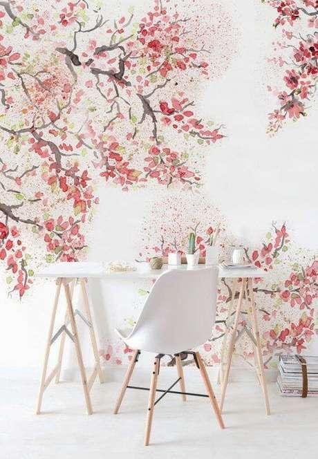 43. Papel de parede rosa com arvore cheia de flores – Foto Etsy